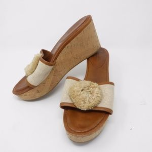 Sz 10 B COACH Platform Wedge Sandal Cork 3.5″ High